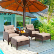 Vongrasig 5 Piece Wicker Patio Furniture Set, PE Wicker Rattan Small Patio Set Porch Furniture, Cushioned Patio Chair Set of