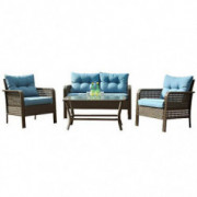 Patio PE Wicker Furniture Set 4 Pieces,All Weather Patio Conversation Sets of 2 Single Sofas,1 Loveseat and Tempered Glass Ta