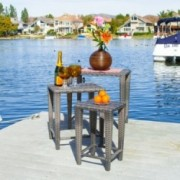 Sidney Outdoor Grey Wicker Nested Side Tables (Set of 3)