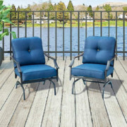 Top Space Patio Chairs Outdoor Rocking Chair Bistro Set Patio Conversation Set,Motion Metal Outdoor Furniture with 2 Outdoor
