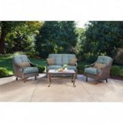 Hanover VENTURA4PC-BLU Ventura 4-Piece Patio Set, Ocean Blue Outdoor Furniture
