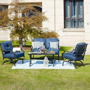 Patio Festival 4 Pices Patio Furniture Conversation Set,Metal Outdoor Furniture Set w/All Weather Cushioned Loveseat,Poolside