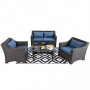 PHI VILLA Outdoor Patio Wicker Furniture Set 4 Piece Conversation Sofa Set with Upgrade All-Weather Rattan & Tempered Glass T