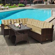 Tangkula Patio Furniture Set, 3 Pieces Outdoor Conversation Set with 6 Cushioned Seat & Coffee Table, Rattan Couch Set for Ba