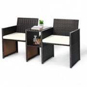 Tangkula Outdoor Furniture Set Paito Conversation Set with Removable Cushions & Table Wicker Modern Sofas for Garden Lawn Bac