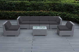 Ohana 7-Piece Outdoor Patio Furniture Sectional Conversation Set, Gray Wicker with Gray Cushions - No Assembly with Free Pati
