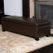 Canal Brown Leather Storage Ottoman