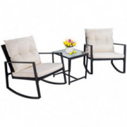 Walsunny 3 Pieces Patio Set Outdoor Wicker Patio Furniture Sets Modern Rocking Bistro Set Rattan Chair Conversation Sets with