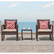 Patiorama 3 Pieces Outdoor Patio Furniture Set, Outdoor Wicker Conversation Set, Patio Rattan Chair Set, Modern Bistro Set wi