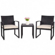 SUNLEI Outdoor 3-Piece Bistro Set Black Wicker Furniture-Two Chairs with Glass Coffee Table  Beige Cushion