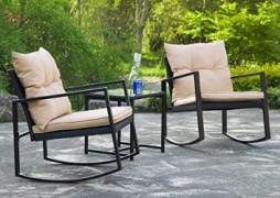 3 Pieces Patio Set Outdoor Wicker Patio Furniture Sets Rocking Chair Bistro Set Rattan Chair Conversation Sets Garden Porch F