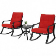 SOLAURA 3-Piece Outdoor Rocking Chairs Bistro Set, Black Steel Patio Furniture with Red Thickened Cushion & Glass-Top Coffee