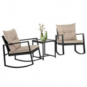 FDW Wicker Patio Furniture Sets Outdoor Bistro Set Rocking Chair 3 Piece Patio Set Rattan Chair Conversation Set for Backyard