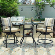 PatioFestival 3 Pcs Outdoor Height Bistro Chairs Set Patio Swivel Bar Stools with 2 Yard Armrest Chairs and 1 Glass Top Table