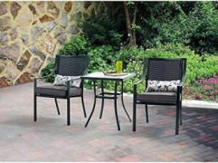 Mainstays Alexandra 3-piece Bistro Outdoor Patio Furniture Set Features Red Stripe Cushions with Butterflies. This Set Is a P