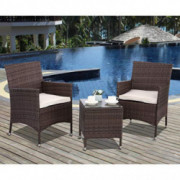 Polar Aurora 3pcs Patio Bistro Set Outdoor Armchairs PE Rattan Wicker Furniture 3 Piece Conversation Set Garden Table and Cha