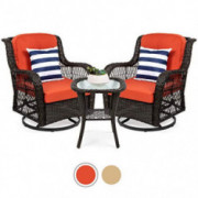 Best Choice Products 3-Piece Outdoor Wicker Patio Bistro Set w/ 2 360-Degree Swivel Rocking Chairs and Tempered Glass Top Sid