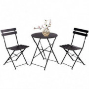 Grand patio 3 Piece Bistro Set, Weather-Resistant Folding Table and Chairs, Indoor/Outdoor Furniture Set  Black