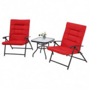 SOLAURA 3-Piece Patio Adjustable Padded Folding Bistro Set with Recliner Black Metal Outdoor Chair with Coffee Table  Red