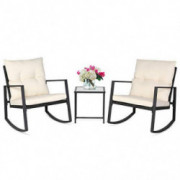 SUNCROWN Outdoor 3-Piece Rocking Bistro Set: Black Wicker Furniture-Two Chairs with Glass Coffee Table  Beige Cushion