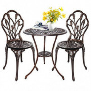 HOMEFUN Bistro Table Set, Outdoor Patio Set 3 Piece Table and Chairs, Tulip Carving and Weather Resistant  Antique Bronze