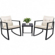 Devoko 3 Piece Rocking Bistro Set Wicker Patio Outdoor Furniture Porch Chairs Conversation Sets with Glass Coffee Table  Beig