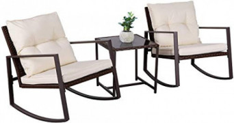 Oakmont Outdoor 3-Piece Patio Furniture Rocking Chair Bistro Set, Brown Wicker Conversation Set with Tempered Glass Coffee Ta