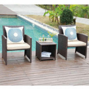 JOIVI 3 Piece Patio Set, Outdoor PE Wicker Rattan Chairs Patio Furniture Conversation Modern Bistro Set with Storage Side Tab