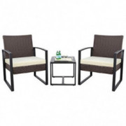 KaiMeng 3 Pieces Patio Sets Outdoor Patio Furniture Sets Modern Bistro Set Rattan Wicker Chair Conversation Sets with Coffee