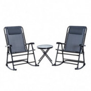 Outsunny 3 Piece Outdoor Rocking Bistro Set, Patio Folding Chair Dining Table Set, Grey