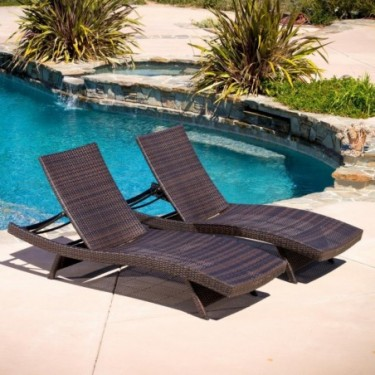 Lakeport Outdoor Adjustable Chaise Lounge Chair Set Of 2