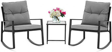 BonusAll 3 Pieces of Outdoor Patio Furniture Rocking Chair Bistro Sets Wicker Black Chair and Coffee Table  Grey Cushion