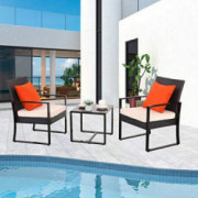 Furnimy 3 Pieces Outdoor Chairs Furniture Patio Set Patio Chairs and Table Set Modern Furniture Outdoor Bistro Set Rattan Wic
