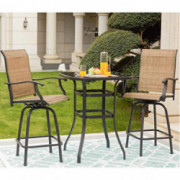 LOKATSE HOME 3 Pcs High Swivel Stools 2 Tall Chairs and 1 Height Outdoor Bistro Table, 3PCS, Patio bar Set