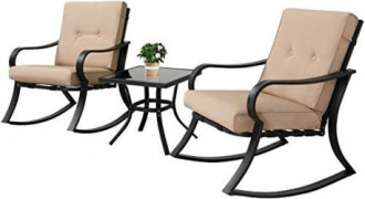 Oakmont Outdoor Furniture 3 Piece Bistro Set Rocking Chairs and Glass Top Table, Thick Cushions, Black Steel  Beige
