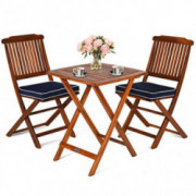 Giantex 3Pcs Patio Bistro Set, Wood Folding Table Set, 2 Cushioned Chairs for Garden Yard, Outdoor Furniture  Natural