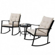 Incbruce Outdoor Rocking Chair Bistro Set 3-Piece Patio Furniture Sets All-Weather Steel Frame, Two Chairs & Round Glass Coff