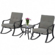 Patiomore 3-Piece Outdoor Patio Furniture Rocking Chairs Bistro Sets, Glass-Top Coffee Table and Black Steel Chairs with Gray