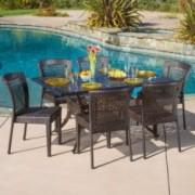 Florence Outdoor 7pcs Cast Aluminum Wicker Dining Set