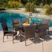 Vestavia Outdoor 7pcs Cast Aluminum Wicker Dining Set