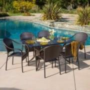 Livingston Outdoor 7pcs Cast Aluminum Wicker Dining Set