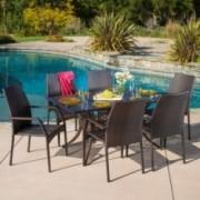 Bessemer Outdoor 7pcs Cast Aluminum Wicker Dining Set