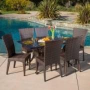 Anniston Outdoor 7pcs Cast Aluminum Wicker Dining Set