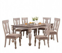 Kings Brand Furniture - Almon 2-Tone Brown Wood 7-Piece Dining Room Set, Table & 6 Chairs