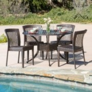 Florence Outdoor 5pc Cast Aluminum Wicker Dining Set