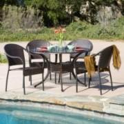 Livingston Outdoor 5pcs Cast Aluminum Wicker Dining Set