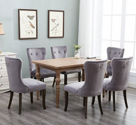 Harper&Bright Designs Set of 6 Victorian Dining Chair Tufted Armless Chair Upholstered Accent Chairs  Velvet Grey