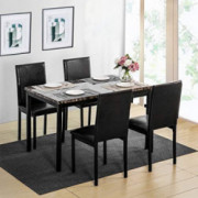 MOOSENG 5 Pieces Dining Table Set, Elegant Faux Marble Desk and 4 Upholstered PU Leather Chairs, Perfect for Bar, Kitchen, Br