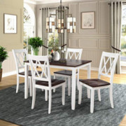Merax Dining Table Set Kitchen Dining Table Set for 4, Wood Table and Chairs Set  White & Cherry