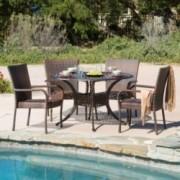 Vestavia Outdoor 5pcs Cast Aluminum Wicker Dining Set